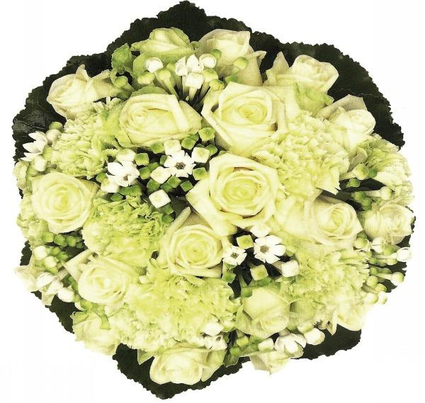 Μπουκετο με λευκα τριανταφυλλα